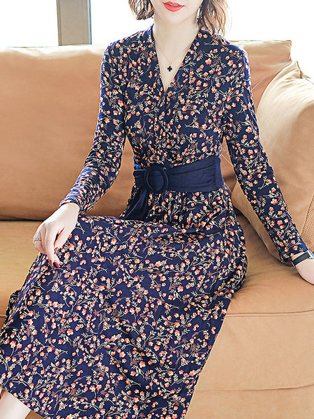 Casual Cotton V-Neck Long Sleeve Collect Waist Floral Dress