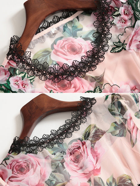 Floral Print Embroidery Beaded O-Neck Flare Sleeve Lace Stitching Maxi Dress