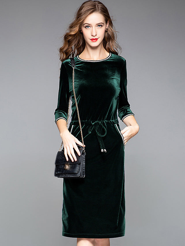 Pure Color Velour O-Neck 3/4 Sleeve Lacing Slim One-Step Dress