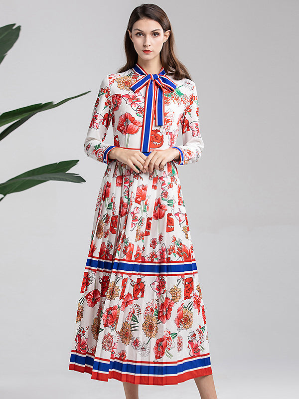 Folk Turn-Down Collar Bowknot Long Sleeve High Waist Pleated Floral Dress