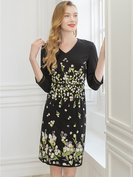 Black Embroidery V-Neck 3/4 Sleeve Collect Waist One-Step dress