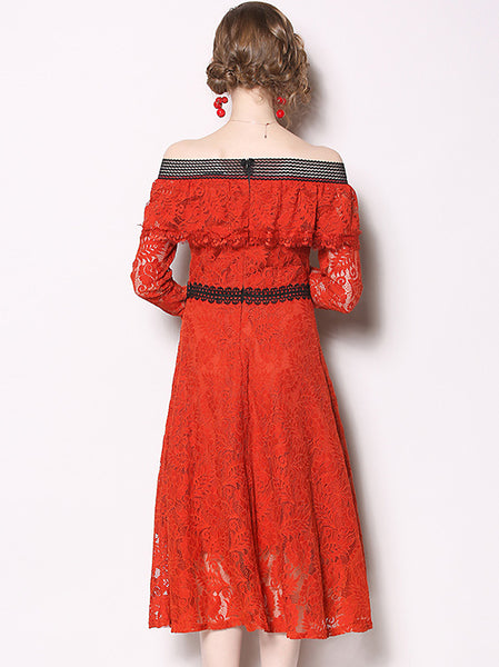 Sexy Lace Strapless Boat Neck Falbala Long Sleeve A-Line Dress