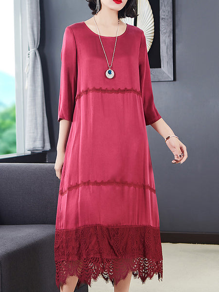 Silk Hollow Out Lace Stitching O-Neck 3/4 Sleeve Loose Dress
