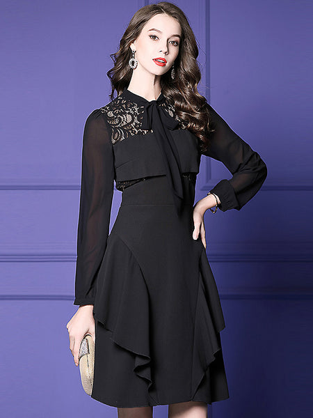 Party Pure Color Lacing Stitching Lace Collect Waist Ruffed Midi Dress