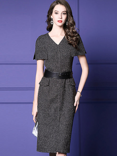 Pure Color Cloak V-Neck Short Sleeve Belted Midi Bodycon Dress