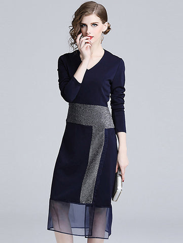 Beautiful V-Neck Long Sleeve High Waist Stitching Mesh Midi Dress