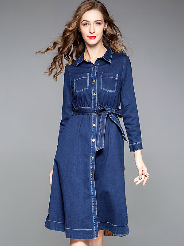 Stylish Denim Single Breasted Lacing Turn-Down Collar A-Line Dress