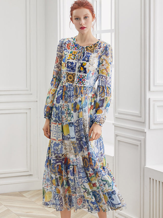Casual Print O-Neck Puff Sleeve Fishtail Maxi Dress