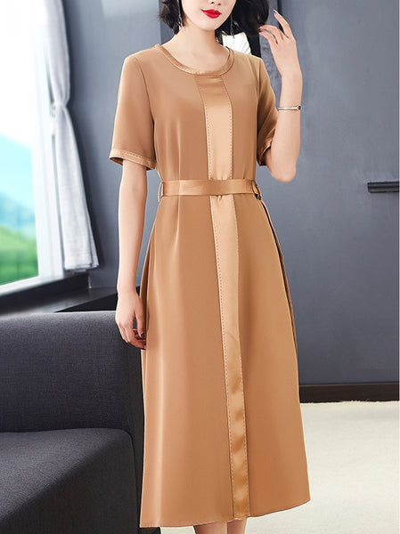 Casual Pure Color O-Neck Short Sleeve Lacing Fit & Flare Dress