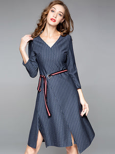 Fashion Stripe V-Neck 3/4 Sleeve Lacing Irregular Slim Midi Dress