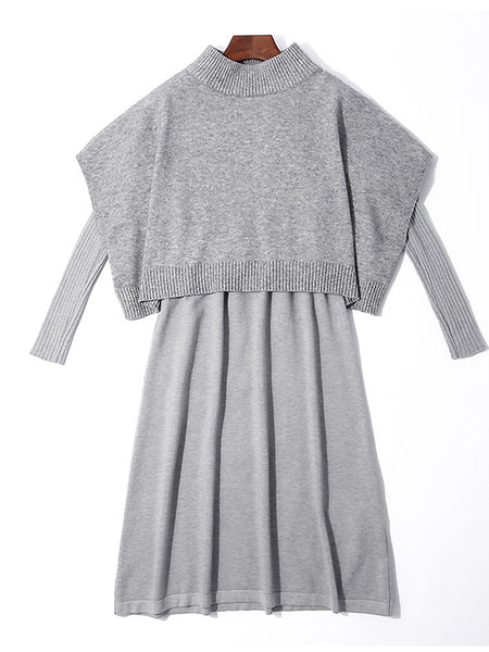 Pure Color Knit Batwing Sleeve Stand Collar Fake Two Piece Midi Dress