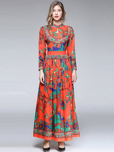Chic Print Stand Collar High Waist Pleated Maxi Dress