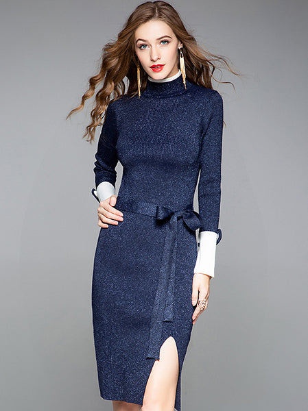 Stylish Stitching Knit High Collar Long Sleeve Slit Lacing Bodycon Dress