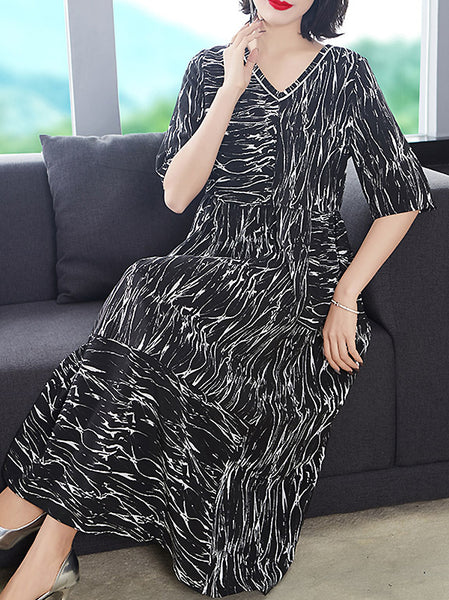 Elegant Print V-Neck Half Sleeve Silk A-Line Loose Dress