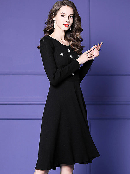 Pure Color Beaded Knit O-Neck Long Sleeve Slim Midi Dress