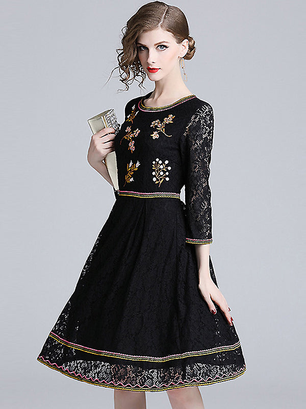 Lace Floral Embroidery O-Neck 3/4 Sleeve A-Line Skater Dress