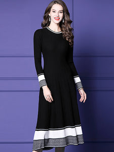 Casual Knit O-Neck Long Sleeve Stitching Slim Sweater Dress