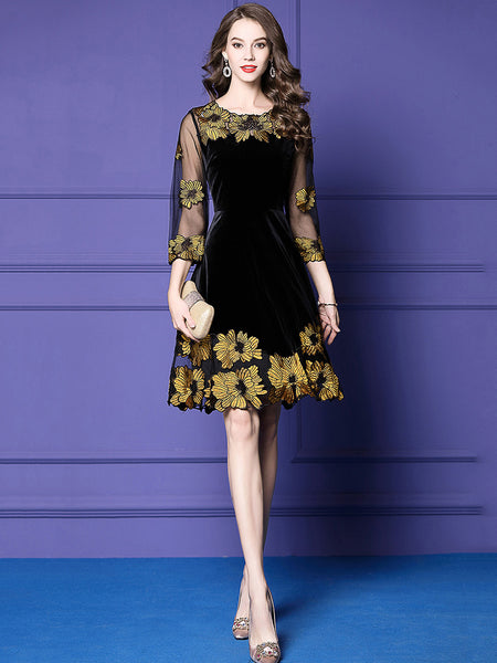 Velour Stitching Embroidery O-Neck 3/4 Mesh Sleeve Skater Dress