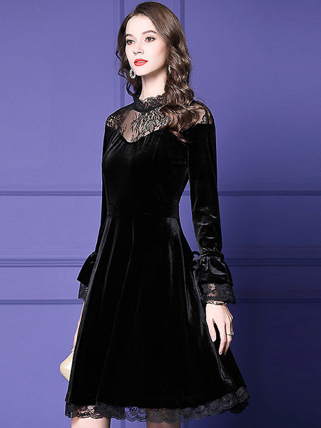 Velour Stitching Lace See-Through Stand Collar High Waist A-Line Skater Dress