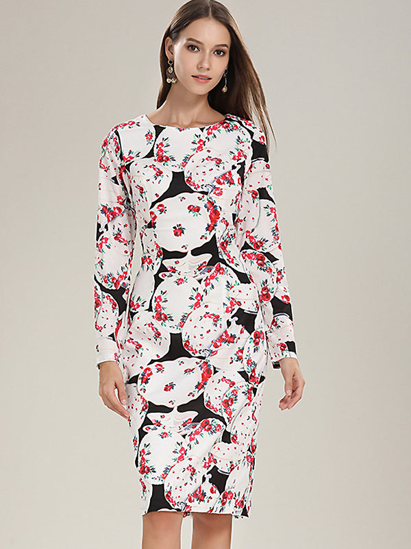 Print O-Neck Long Sleeve Collect Waist One-Step dress