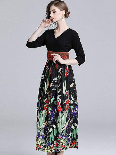 V-Neck 3/4 Sleeve High Waist Big Hem Print Maxi Dress