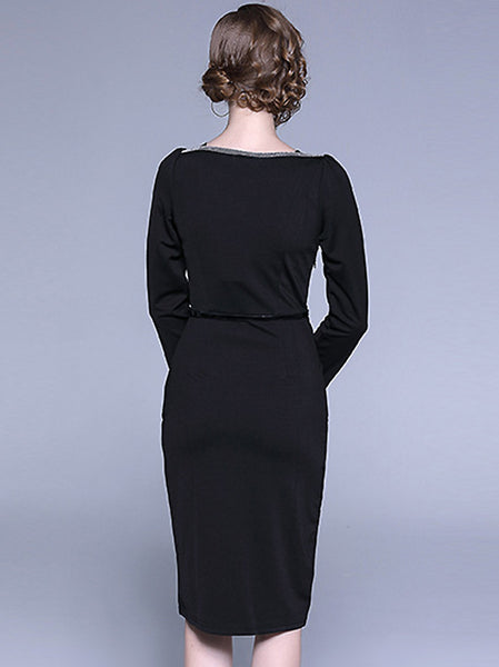 Elegant Black O-Neck Long Sleeve Belted Split Wrap Dress