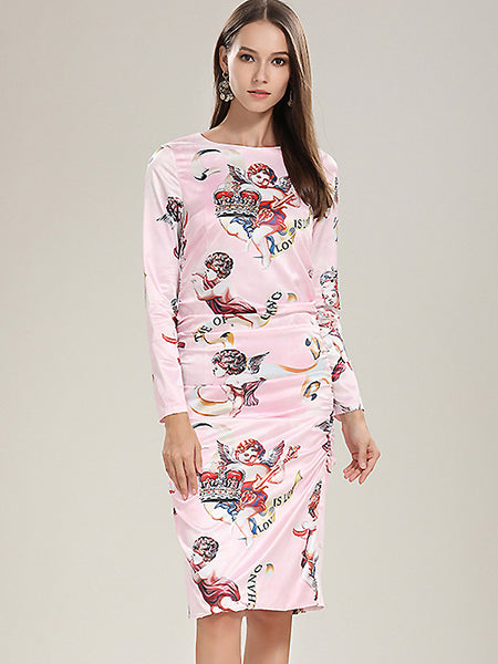 Sweet Cupid Print O-Neck Long Sleeve Draped One-Step dress
