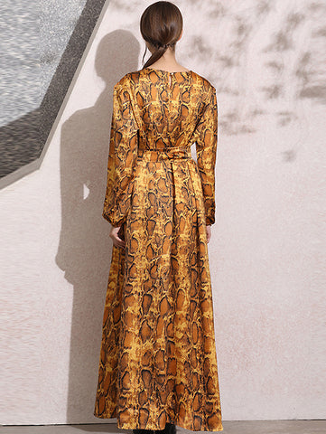 Noble Print O-Neck Puff Long Sleeve Lacing Big Hem Maxi Dress