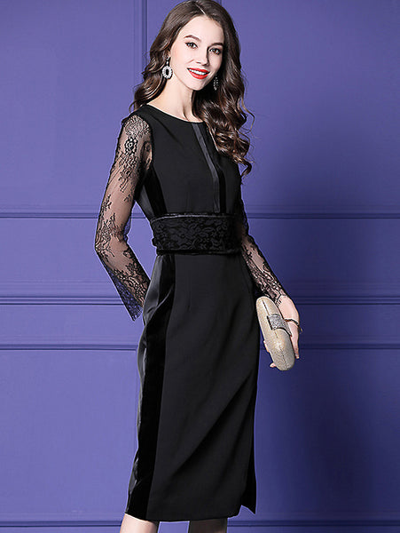 Party Velour Hollow Out Lace Sleeve O-Neck Lacing One-Step Dress