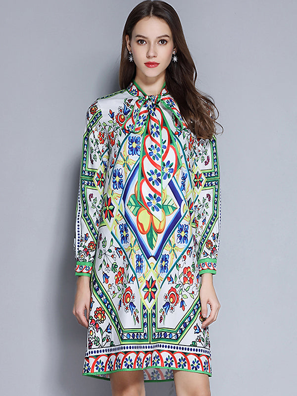 Folk Bowknot O-Neck Long Sleeve Floral Midi Dress