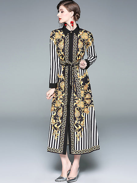 Print Turn-Down Collar Single-Breasted Lacing Collect Waist Dress