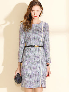 Brief O-Neck Long Sleeve Belted Bodycon Tweed One-Step Dress