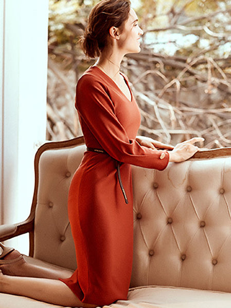 Pure Color V-Neck Long Sleeve Belted Bodycon Pencil Dress