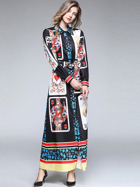 Fashion Turn-Down Collar Single-Breasted Lacing Collect Waist Print Dress