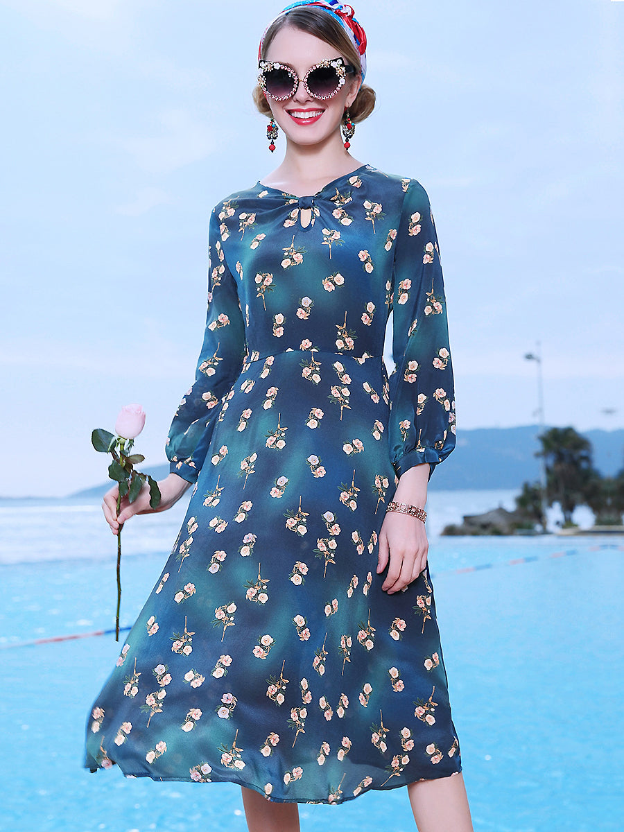 Holiday O-Neck Half Sleeve Floral Fit & Flare Dress