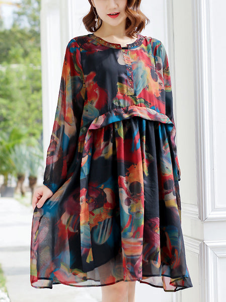 Sweet Peter Pan Collar 3/4 Sleeve Single-Breasted Floral Dress