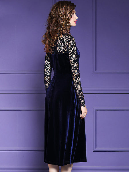 Lace Stitching Velour O-Neck Long Sleeve Collect Waist Dress