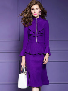 Two pieces Chic Woollen Half-Collar Zipper Falbala Coat & Fit & Flare Dress