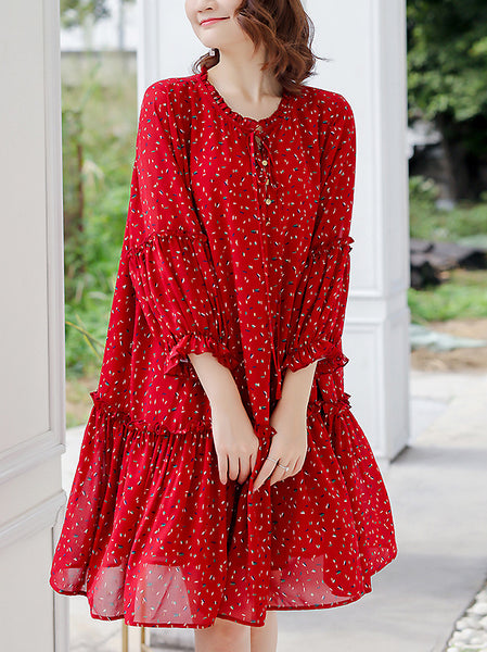 Cotton O-Neck Long Sleeve Lacing Elastic Waist Shift Dress