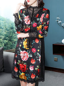 Stitching Lace Print Stand Collar Long Sleeve Dress