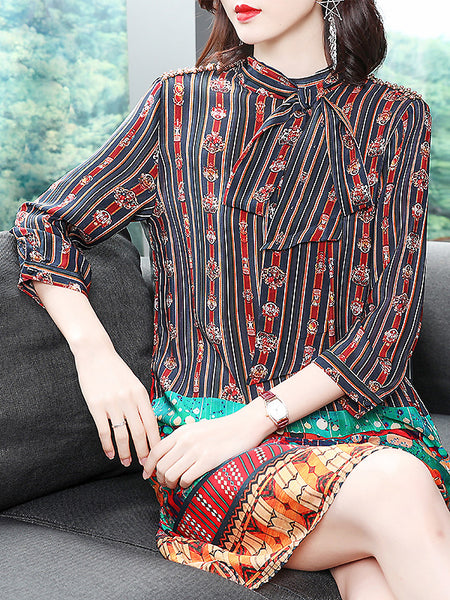 Silk Stand Collar Lacing 3/4 Sleeve Shift Dress