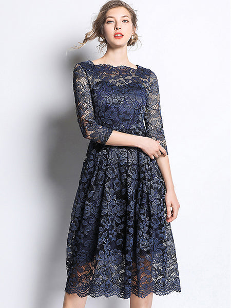 Embroidery Hollow Out Lace Square Neck 3/4 Sleeve Big Hem Dress