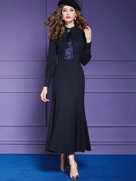 Chic Pure Color Stand Collar Long Sleeve Falbala Dress
