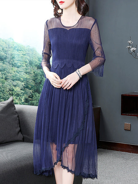 Brief Mesh Stitching O-Neck See-Through 3/4 Sleeve Big Hem Dress