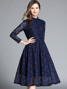 Hollow Out Lace Print Stand Collar Long Sleeve Pleated Dress