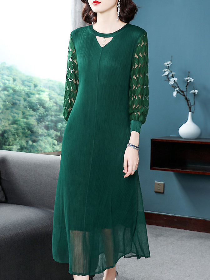 Pure Color Stitching V-Neck Lace Hollow Out Long Sleeve Dress