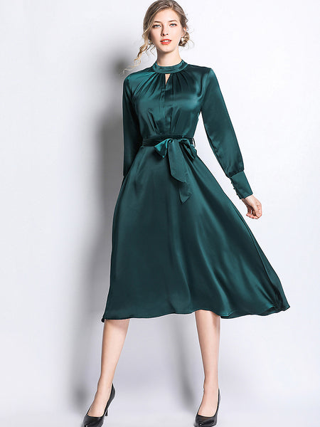 Pure Color Hollow Out Stand Collor Long Sleeve Lacing Midi Irregular Dress
