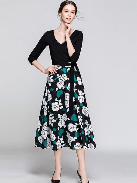 V-Neck 3/4 Sleeve Lacing Floral Print Big Hem Dress