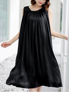 Black Pleated O-Neck Sleeveless Loose Waist A-Line Dress