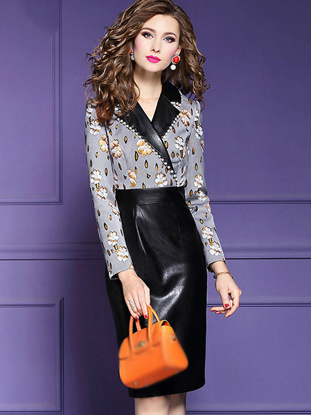 Leather Print V-Neck Beaded Long Sleeve Stitching Bodycon Dress